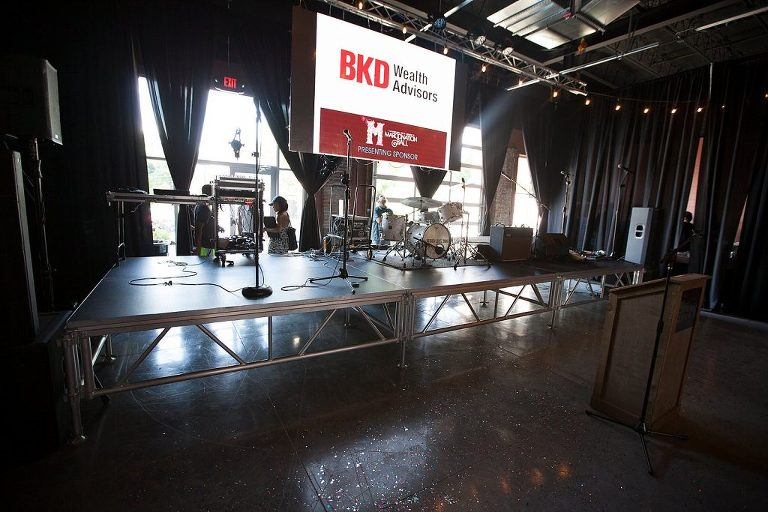 This stage is available for rent at The Old Glass Place when you rent the venue for your Concert, Wedding, Reception, Corporate Event or any other event.